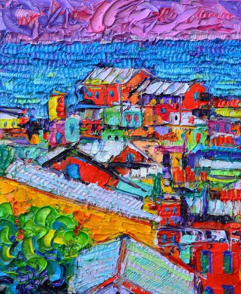 Painting - Abstract Cinque Terre Italy Colorful Houses Modern Impressionism Impasto Textural Knife Oil Painting by Ana Maria Edulescu
