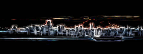 Vancouver City Digital Art - Abstract City Neon by Rick Deacon
