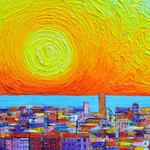 Painting - Abstract City Patterns At Sunrise Textural Impressionist Impasto Knife Cityscape Ana Maria Edulescu by Ana Maria Edulescu