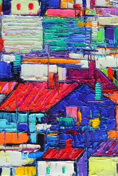 Painting - Abstract City Patterns Tep A5 Textural Impasto Palette Knife Oil Cityscape By Ana Maria Edulescu by Ana Maria Edulescu