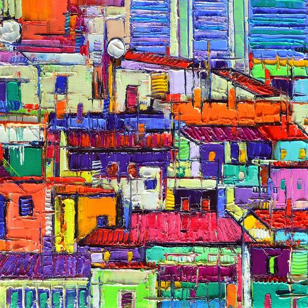 Painting - Abstract City Patterns Tep A8 Textural Impasto Palette Knife Oil Cityscape By Ana Maria Edulescu by Ana Maria Edulescu
