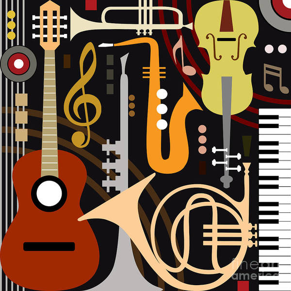 Wall Art - Digital Art - Abstract Colored Music Instruments by Ela Kwasniewski