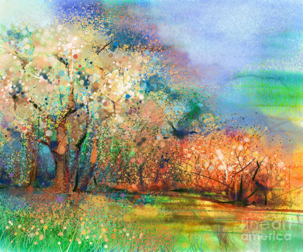 Pastel Colors Digital Art - Abstract Colorful Landscape Painting by Pluie r