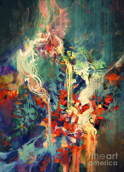 Brush Stroke Wall Art - Digital Art - Abstract Colorful Painting,melted by Tithi Luadthong