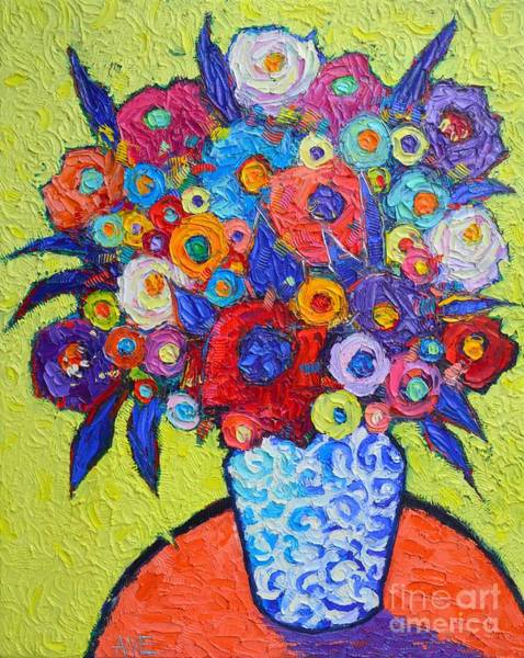 Painting - Abstract Colorful Roses And Wild Flowers Textural Impressionist Impasto Palette Knife Oil Painting by Ana Maria Edulescu