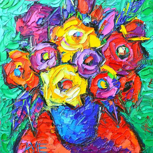 Painting - Abstract Colorful Roses Impasto Textural Palette Knife Oil Painting Flowers Art Ana Maria Edulescu by Ana Maria Edulescu