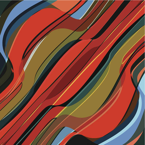 Digital Art - Abstract Colorful Wave Stripe Pattern by Naqiewei