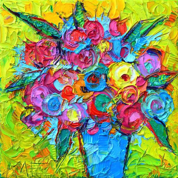 Painting - Abstract Colorful Wild Roses Modern Impressionist Textural Impasto Knife Painting Ana Maria Edulescu by Ana Maria Edulescu
