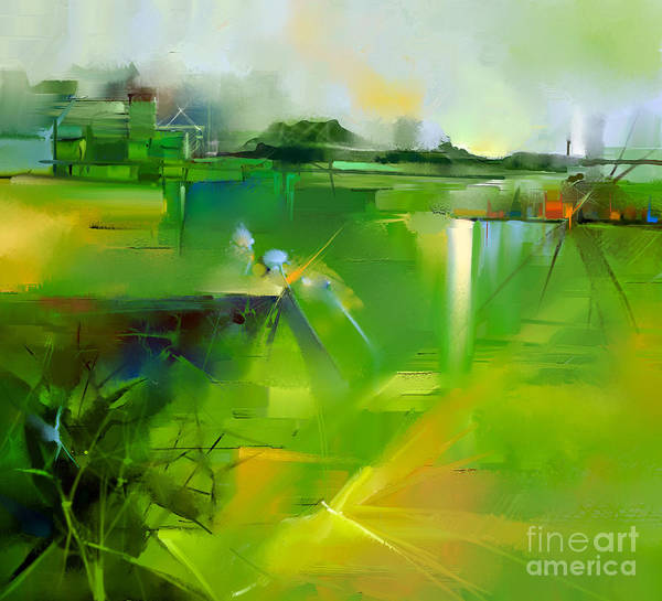 Pastel Colors Digital Art - Abstract Colorful Yellow And Green Oil by Pluie r