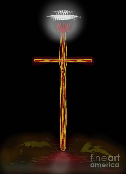 Abstract Cross With Halo Art Print