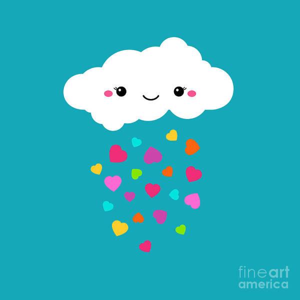 Wall Art - Digital Art - Abstract Cute Cartoon Vector Rainy by Alextanya