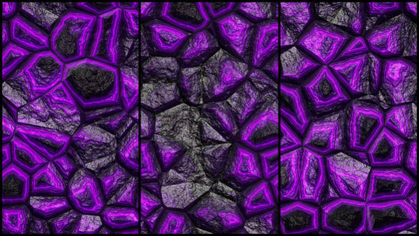Digital Art - Abstract Deep Purple Stone Triptych by Don Northup