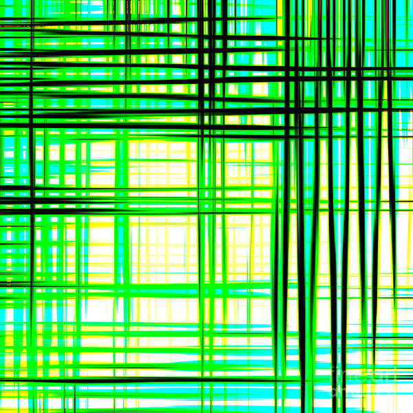 Abstract Design With Lines Squares In Green Color Waves - Pl409 Art Print