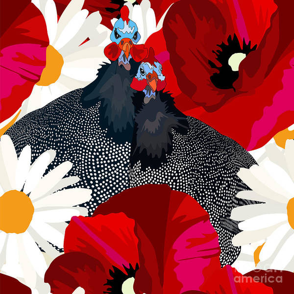 Wall Art - Digital Art - Abstract Draw Rooster Hen, Floral by Viktoriya Pa