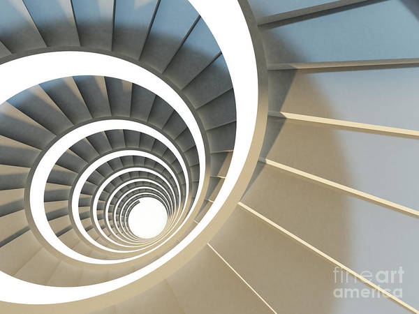 Wall Art - Digital Art - Abstract Endless Spiral Staircase With by Maria Kazanova