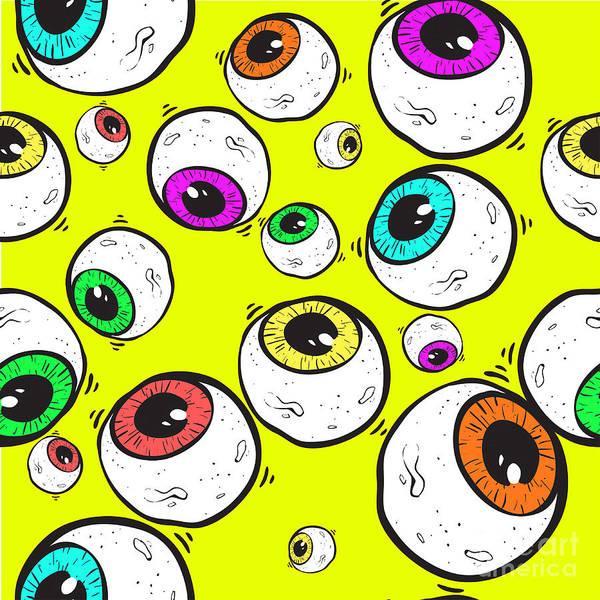 Wall Art - Digital Art - Abstract Eye Seamless Pattern by Nikita Konashenkov