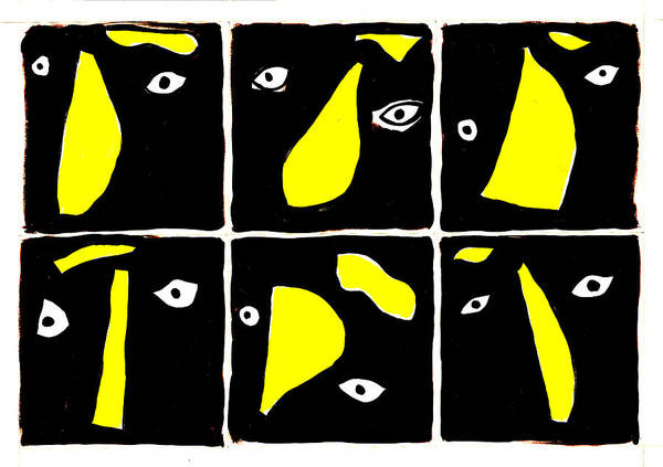 Digital Art - Abstract Eyes Black And Yellow by Artist Dot