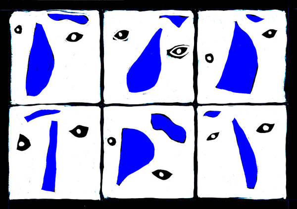 Digital Art - Abstract Eyes Blue And White by Artist Dot