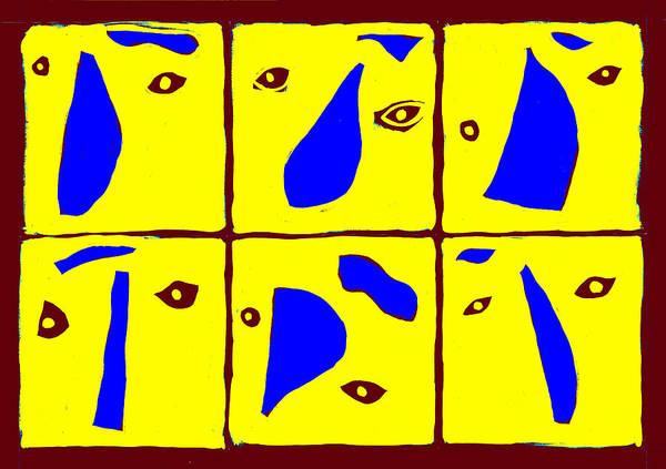 Digital Art - Abstract Eyes Yellow And Blue by Artist Dot
