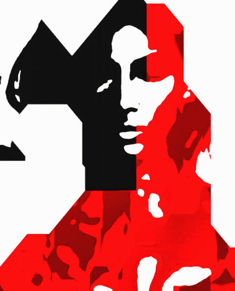 Digital Art - Abstract Facial In Black And Red by Mario Carini