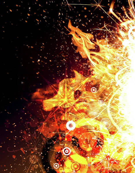 Digital Illustration Digital Art - Abstract Flames And Sparks Digital by Chad Baker