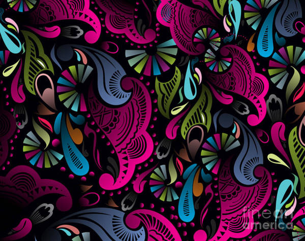 Curve Wall Art - Digital Art - Abstract Floral Pattern, Highly by Redshinestudio