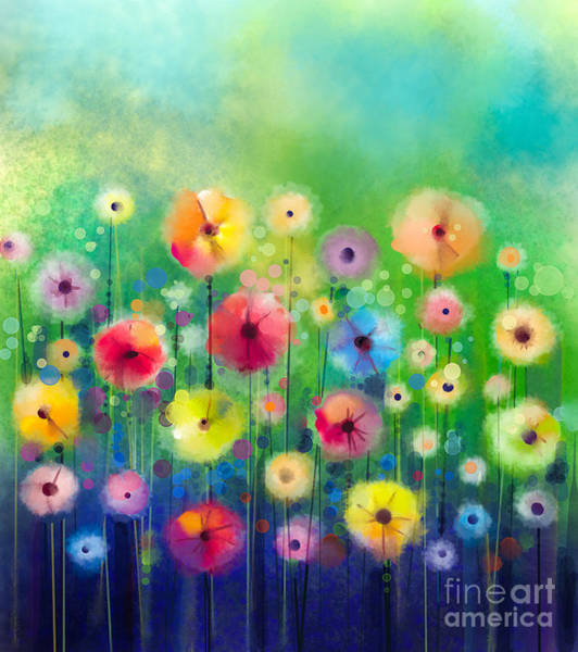 Pastel Colors Digital Art - Abstract Floral Watercolor Painting by Pluie r