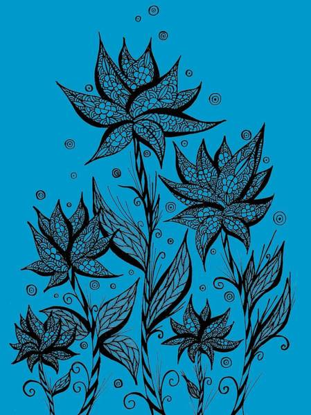 Drawing - Abstract Flowers Lineart by ZeichenbloQ
