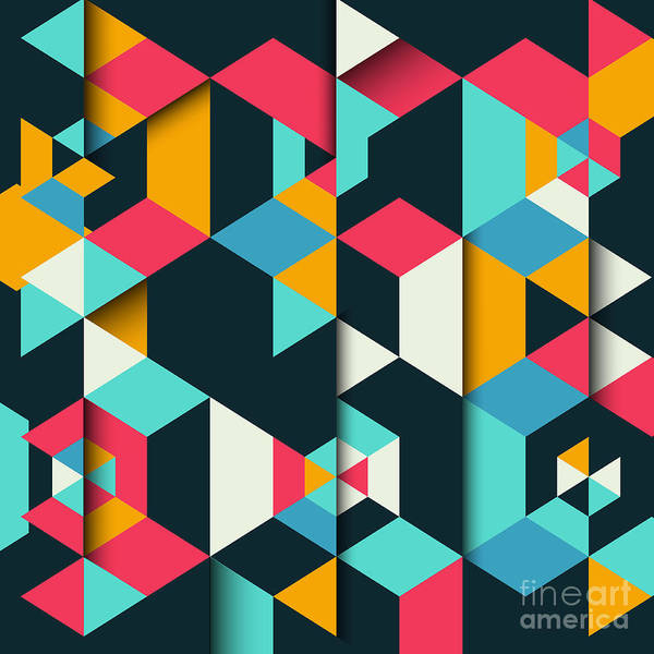 Shadow Digital Art - Abstract Geometric Background With A 3d by Kjpargeter
