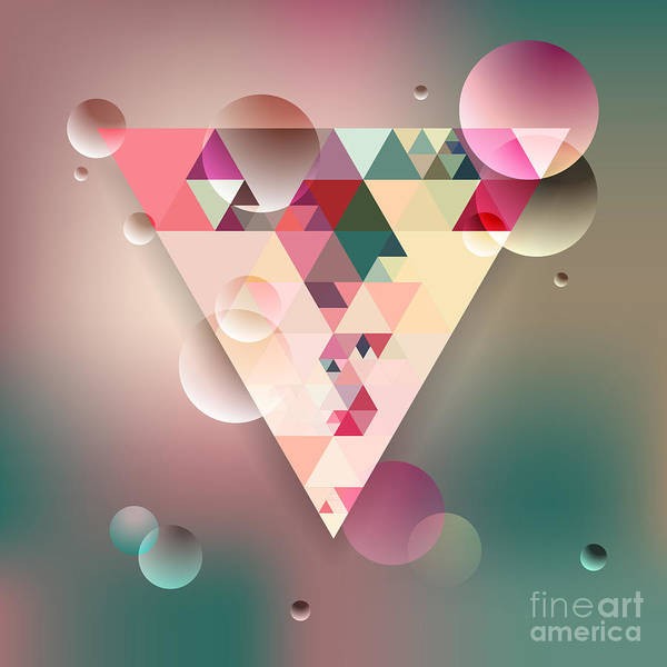 Wall Art - Digital Art - Abstract Geometric Background With by Olha Kostiuk
