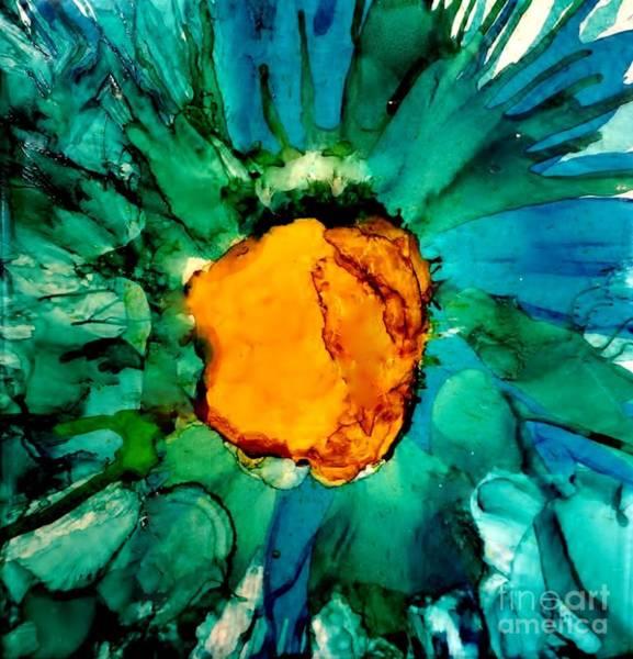 Wall Art - Painting - Abstract Gerbera Ink Flower by Marsha Heiken