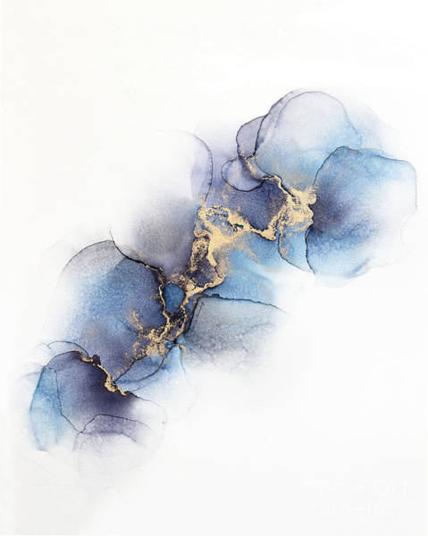 Painting - Abstract Gold And Purple, Blue Petals by Alissa Beth Photography