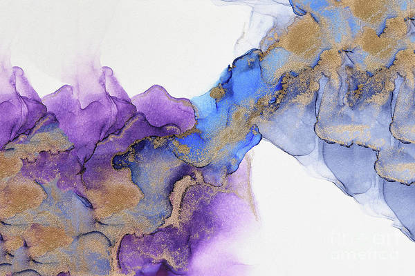 Painting - Abstract Gold And Purple Waves Painting by Alissa Beth Photography