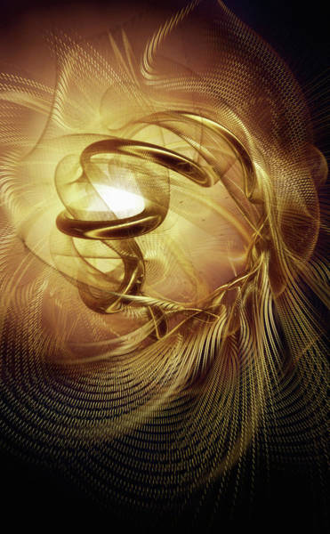 Wall Art - Photograph - Abstract Golden Mesh Spirals by Ikon Images