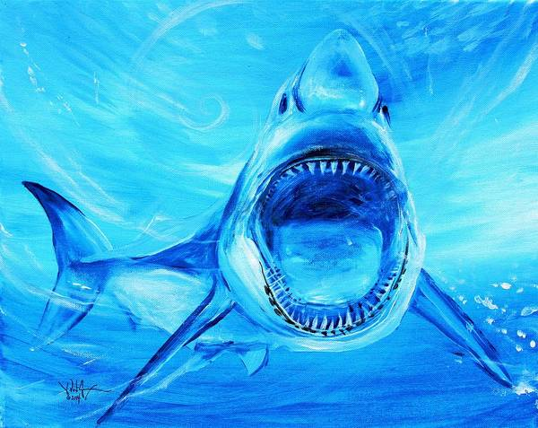 Painting - Abstract Great White, In Blue by J Vincent Scarpace