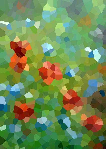 Wallpaper Mixed Media - Abstract Green Background With Red And Blue Flowers by Elena Sysoeva