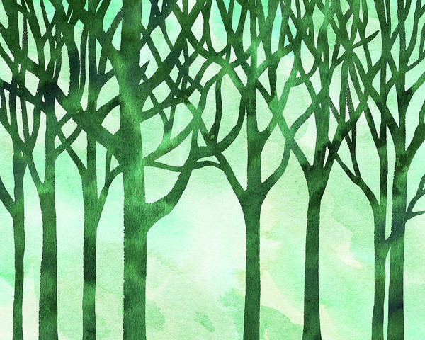 Marble Painting - Abstract Green Marble Watercolor Forest by Irina Sztukowski