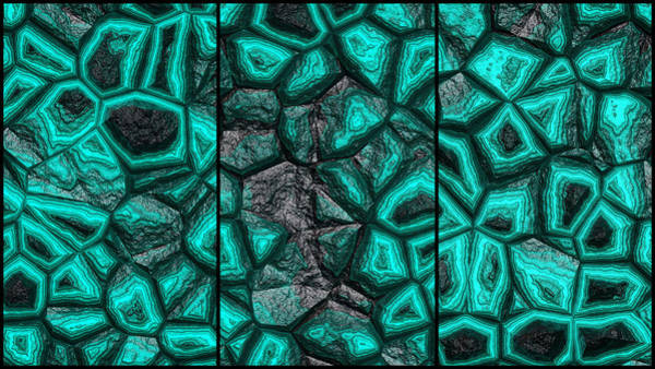 Digital Art - Abstract Green Stone Triptych by Don Northup