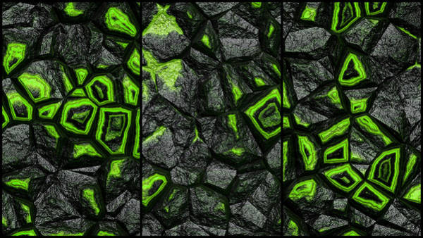 Digital Art - Abstract Green Super Wall Triptych by Don Northup