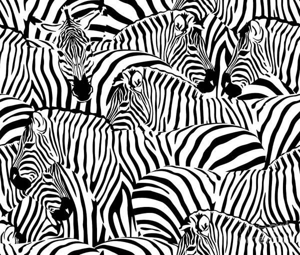 Fauna Digital Art - Abstract Illustration Herd Of Zebras by Viktoriya Pa