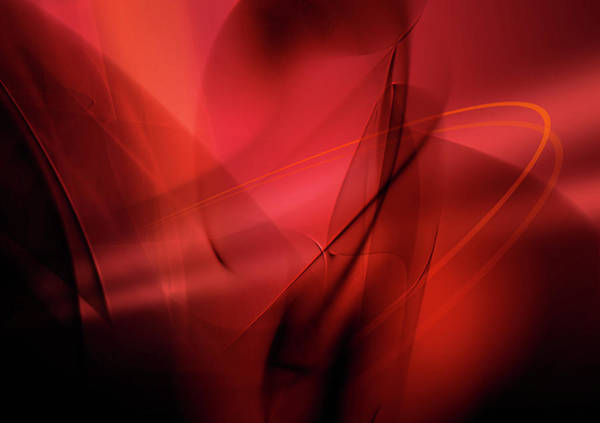 Spooky Digital Art - Abstract Image Of Red Swirling Lines by Aeriform