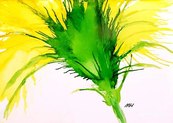 Wall Art - Painting - Abstract Ink Yellow Flower by Marsha Heiken
