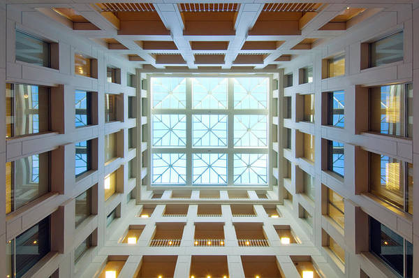 Horizontal Abstract Photograph - Abstract Interior Of An Atrium, New by C. Taylor Crothers