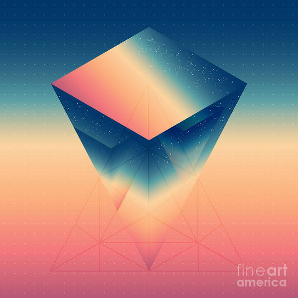 Wall Art - Digital Art - Abstract Isometric Prism With The by Boris Znaev