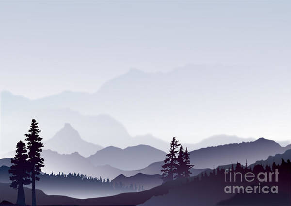 Wall Art - Digital Art - Abstract Landscape Of Blue Mountains by Limilama