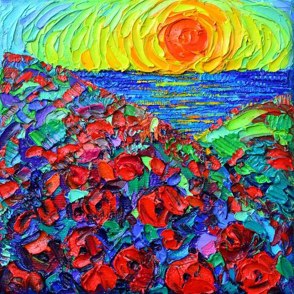Painting - Abstract Landscape Poppies By The Sea At Sunrise by Ana Maria Edulescu