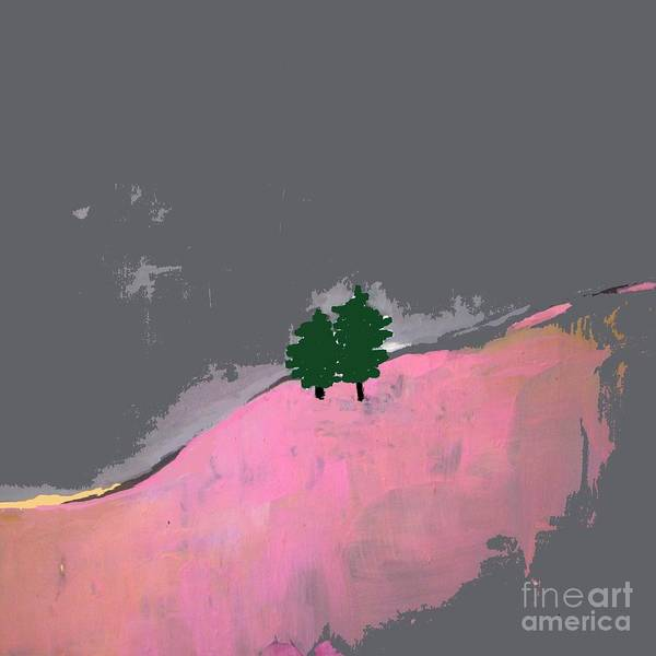 Wall Art - Painting - Abstract Landscape - Trees On The Hill  by Vesna Antic