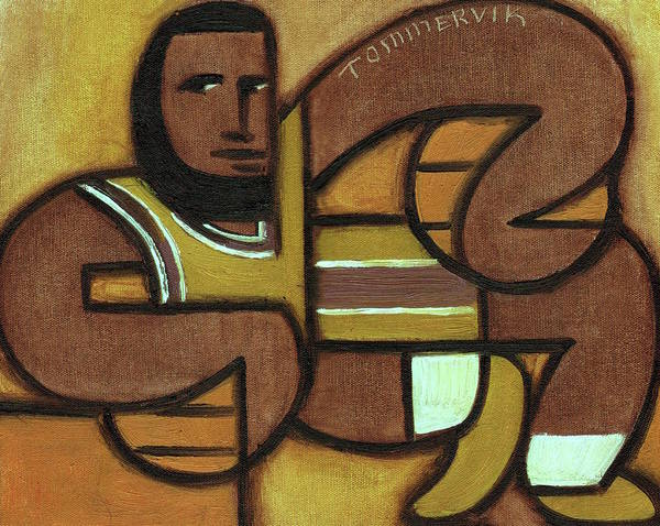 Painting - Abstract Lebron James Holding Basketballs Art Print by Tommervik