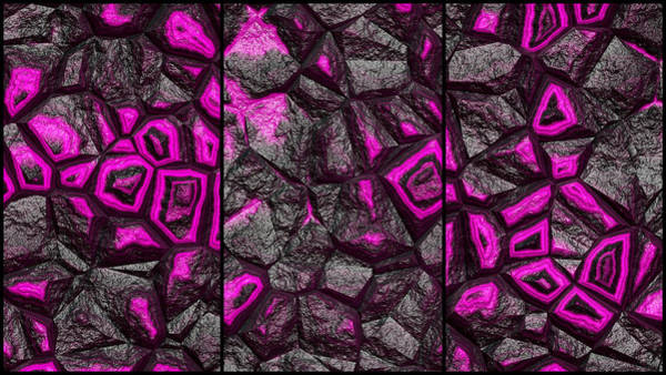 Digital Art - Abstract Magenta Super Wall Triptych by Don Northup