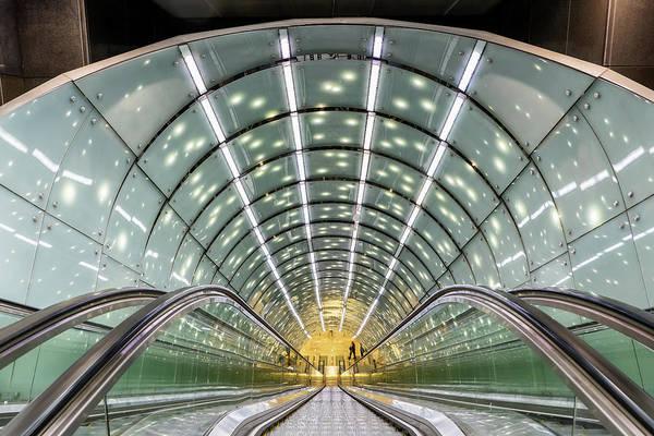 Wall Art - Photograph - Abstract Modern Architecture Of Warsaw Metro Escalator by Artur Bogacki